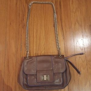 BCBG Brown 100% Leather Bag with Chain Handle